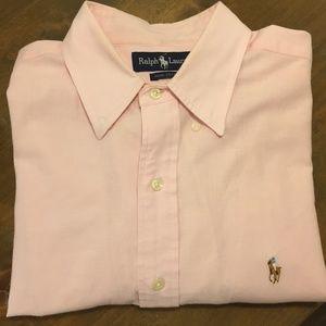 Ralph Lauren Short Sleeve Button Down Shirt Pink